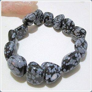 """Jewelry - """"Stone of Purity""""Snowflake Obsidian Bracelet"""